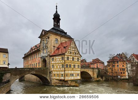 Altes Rathaus (the Old Town Hall) In Winter. Bamberg, Bavaria.