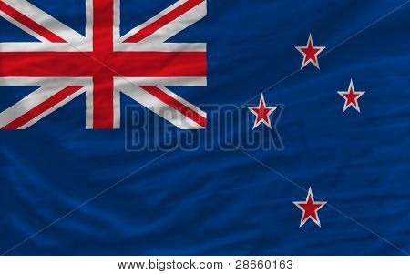 Complete Waved National Flag Of New Zealand For Background