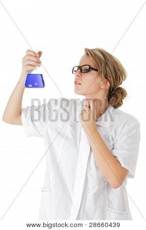 Scientist Analysing A Probe