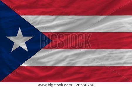 Complete Waved National Flag Of Puerto rico F or Background