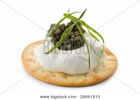 Canapes With Caviar And Creme Fraiche
