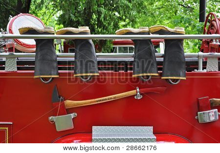 Antique Fire Truck with fireman boots