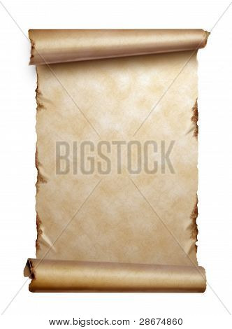 Scroll Of Old Paper With Curled Edges Isolated