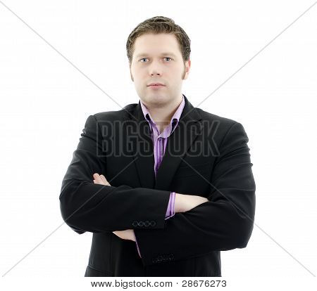 Portrait Of A Handsome Young Business Man With Arms Crossed. Isolated On White Background With Copy