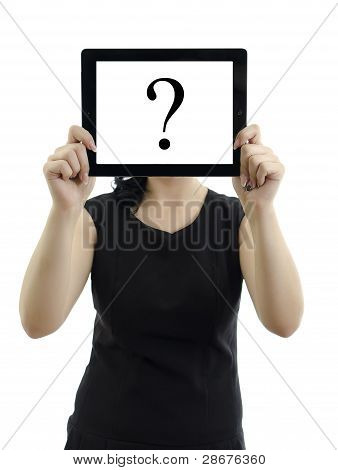 Woman Holding Tablet Pc With Question Mark. Isolated On White.