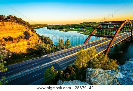 poster of 360 Bridge At Sunset Or Pennybacker Bridge A Landmark Of Austin , Texas , Usa A Gorgeous Cannon Susp