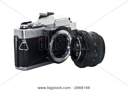 Slightly Beatup Slr With Lens Detached