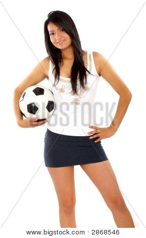 Fashion Woman With A Football