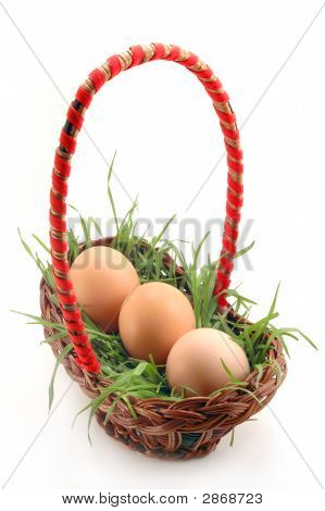 Basket With Grass And Eggs