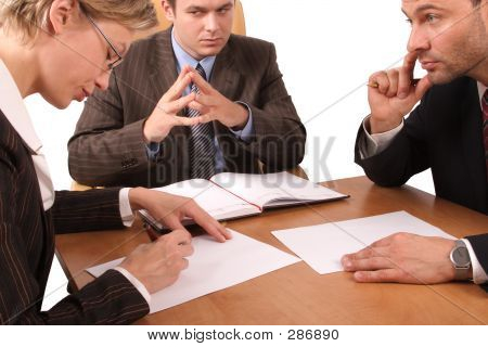 Business Meeting - 3 People - Signing Contract