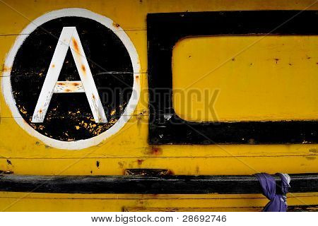 'A' Sign on a Wooden Boat