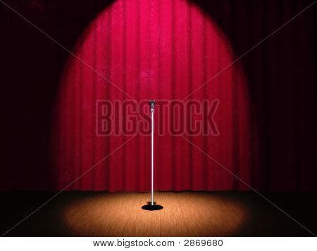 A Microphone On A Stage