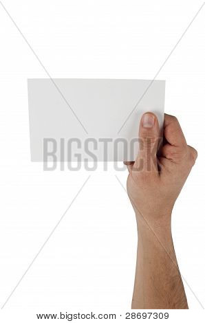 Human Hand Holding Empty Card