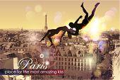 Постер, плакат: Париж место для самых удивительных Kiss Векторные иллюстрации