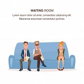 Employee Sit In Queue On Couch In Waiting Room. Worried Pensive Man And Woman Wait For Job Interview poster