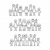 Happy Family Symbols. Grandparents And Parents With Kids Isolated On White Background. Honosexual Fa poster