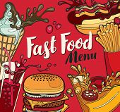 Vector Cover For Fast Food Menu With Ice Cream, Cola, Burger, Pizza, French Fries And Hotdog In Retr poster