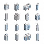 Vector Isometric City Building Set. Vector Isometric City Building Icon Isolated On White Background poster