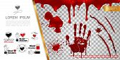 Realistic Blood Elements Concept With Bloody Splashes Handprint Blots Drips Splatters And Blood Dona poster