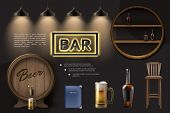 Realistic Pub Elements Composition With Wooden Barrel Beer Glass Chair Menu Lamps Bottles On Shelves poster