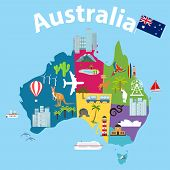 Map Of Australia, Tourist Map Of Australia. Cartoon Map Of Australia With Animals And Landmarks. poster