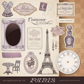scrapbooking kit: Paris - romantic vintage design elements and ephemera, also perfect for Valentine'