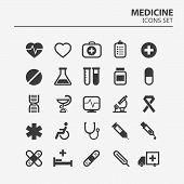 Medical Icon Set. 25 Silhouette Hospital Vector Signs. Medicine Design. Web Ambulance Infographics I poster
