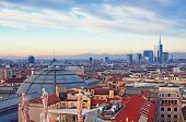 stock photo of milan  - View of Milan from the rooftoop of  - JPG