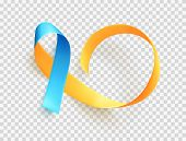World Down Syndrome Day. March 21. Realistic Blue Yellow Ribbon Symbol. Template For Poster. Vector. poster