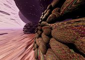 Surreal Landscape Of The Red Planet Mars. 3d Illustration On The Theme Of Space, Planets, Universe,  poster
