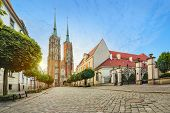 Wroclaw, Poland. Panoramic View Of Cathedral Of St. John The Baptist On Sunrise (hdr Image) poster