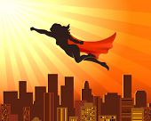Flying Girl Superhero. Sup Hero Woman Silhouette Over City Roofs, Red Cape Vector Comic Super Girl J poster
