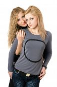 stock photo of friendship belt  - Portrait of two attractive young women - JPG