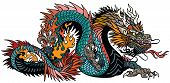 Azure Also Blue Green Chinese Dragon. Asian And Eastern Mythological Creature. Isolated Tattoo Style poster