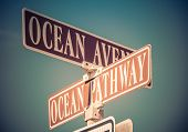 Ocean Avenue And Ocean Pathway Signs Mark Intersection In Ocean Grove, Nj, Retro Split Tone poster
