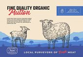 Fine Quality Organic Mutton. Abstract Vector Meat Packaging Design Or Label. Modern Typography And H poster