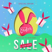 Happy Easter Trendy Paper Art Background With Egg Hunt, Rabbit Ears And Gift Boxes. Easter Sale Bann poster