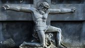 Death Does Not Exist Concept. Antique Statue. Death And Resurrection Of Jesus Of Nazareth - Jesus Ch poster