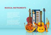 Musical Background Made Of Different Musical Instruments, Treble Clef And Notes. Text Place. poster