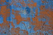 Textures And Background Of Old Iron. Peeling Paint On A Blue And Brown Metal Sheet Background. Minor poster