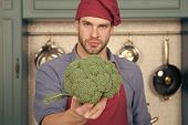 Main Ingredient. Think About Main Ingredient Natural Flavor. Man Chef Holds Broccoli Thoughtful Face poster