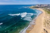 Aerial View Of Nobbys Beach - Newcastle Australia. Nobbys Beach Is One Of Newcastle Best Beaches. Ne poster