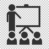 Training Education Icon In Flat Style. People Seminar Vector Illustration On Isolated Background. Sc poster