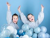 Happy And Carefree. Little Girls Celebrating Birthday. Small Children Having Birthday Party. Happy K poster