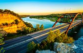360 Bridge At Sunset Or Pennybacker Bridge A Landmark Of Austin , Texas , Usa A Gorgeous Cannon Susp poster