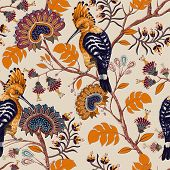 Vector Colorful Pattern With Birds And Flowers. Hoopoes And Flowers, Retro Style, Floral Backdrop. S poster