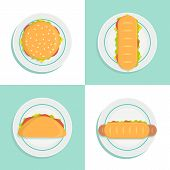 Sandwich Top View Vector Style Illustration. Set. Sandwich Bread On Plate Isolated On The Brown Back poster