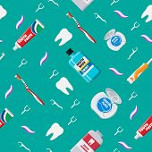 Dental Cleaning Tools Seamless Pattern. Oral Care Hygiene Products. Toothbrush, Toothpaste, Mouthwas poster