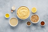 Hummus Ingredients. Chickpea, Tahini, Olive Oil, Sesame And Herbs On Gray Background. Set Of Raw Ing poster