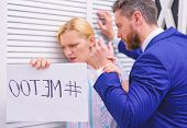 Metoo As A New Movement. Mad At Colleague. Me Too Social Movement. Office Woman And Her Lustful Boss poster